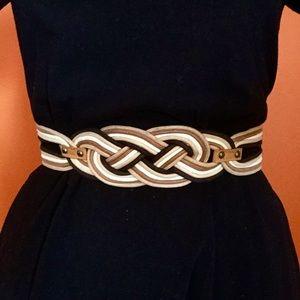 Accessories - Black & Tan Braided Elastic Waist Belt